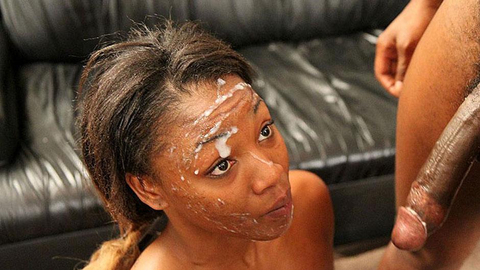 Ebony On White Cock